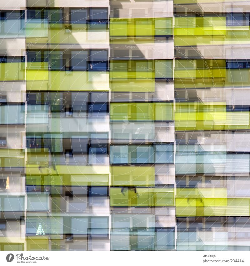 B-B balconies Lifestyle Style Design Apartment house Facade Balcony Window Line Stripe Exceptional Uniqueness Modern Crazy Chaos Double exposure Colour photo