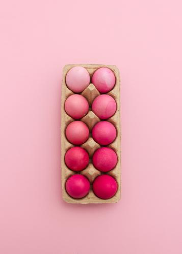 Pink eggs in egg box Egg Design Easter Eating Esthetic Beautiful Orderliness Colour Inspiration Creativity Art Arrangement Color gradient Easter egg Dyeing