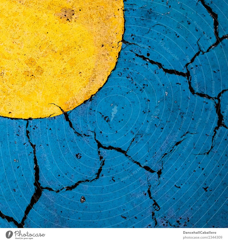 yellow and blue surface on broken asphalt Art Sky Sun Illustration Summer Climate Climate change Graphic Design Abstract Circle Geometry Structures and shapes