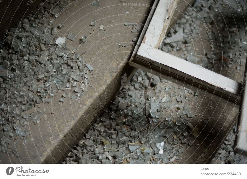 brrrkkkkn Deserted Ruin Stairs Window Old Poverty Dirty Dark Historic Broken Gray Black White Stagnating Colour photo Interior shot Close-up Copy Space left