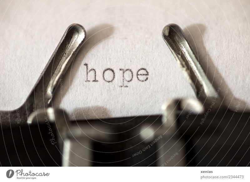 hope typed on an old typewriter Typewriter Hope Characters Write Black White Optimism Concern Distress Subdued colour Studio shot Letters (alphabet) Emotions