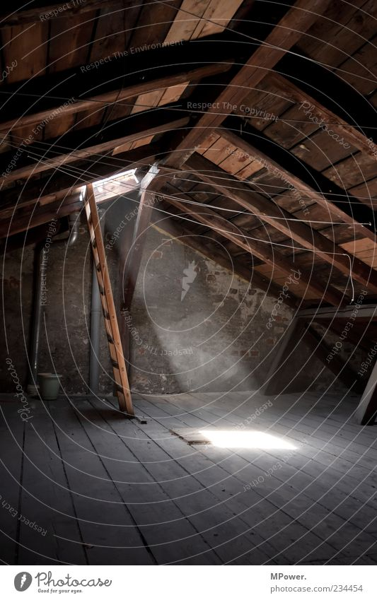 attic Roof Stone Concrete Wood Moody Calm Ladder Light Roof beams Clothesline Dust Tall Attic story Illuminate Floorboards Bucket Old building Contrast Dark