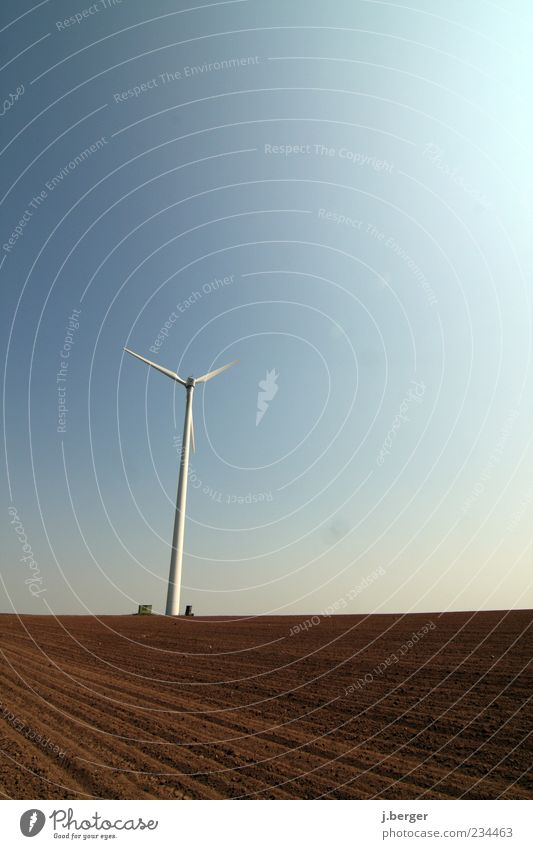 wind catcher Energy industry Technology Advancement Future Renewable energy Wind energy plant Landscape Earth Sky Cloudless sky Beautiful weather Field