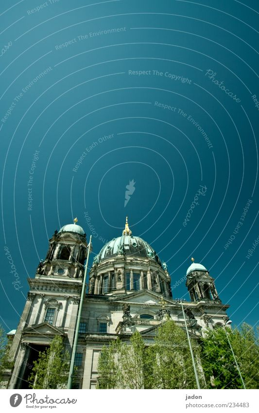 who stands at the amusement garden Capital city Church Dome Tower Facade Tourist Attraction Beautiful Blue Religion and faith Domed roof Berlin