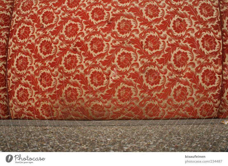 Old Red Exceptional Lie Design Retro Cloth Asphalt Sofa Mattress Trash Auburn Flowery pattern Cloth pattern Disposed of Bulk rubbish
