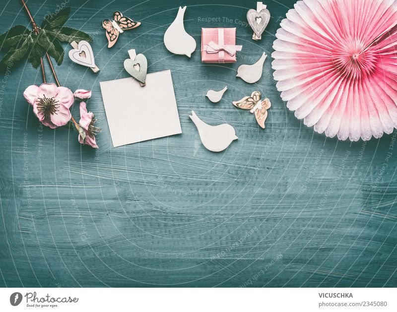 Composing with greeting card, flowers and present Style Design Decoration Party Event Feasts & Celebrations Valentine's Day Mother's Day Wedding Birthday
