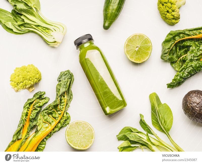 GreenSmoothie bottle with ingredients Food Vegetable Fruit Nutrition Organic produce Vegetarian diet Diet Beverage Cold drink Juice Bottle Lifestyle Style