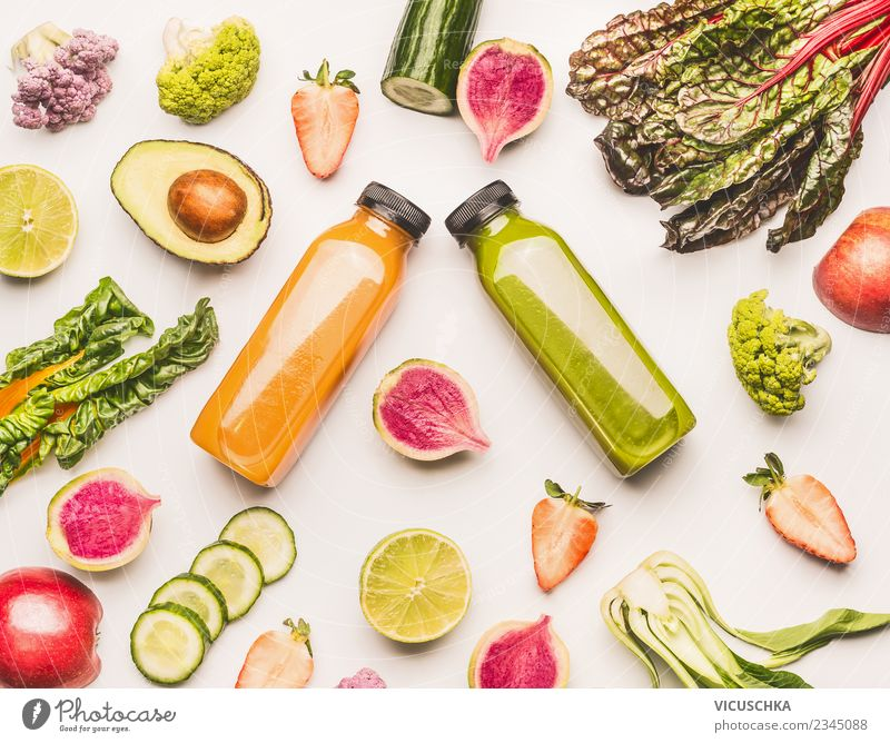 Summer Healthy Eating Green Life Yellow Style Design Fruit Table Beverage Vegetable Bottle Cold drink Juice Lemonade Milkshake