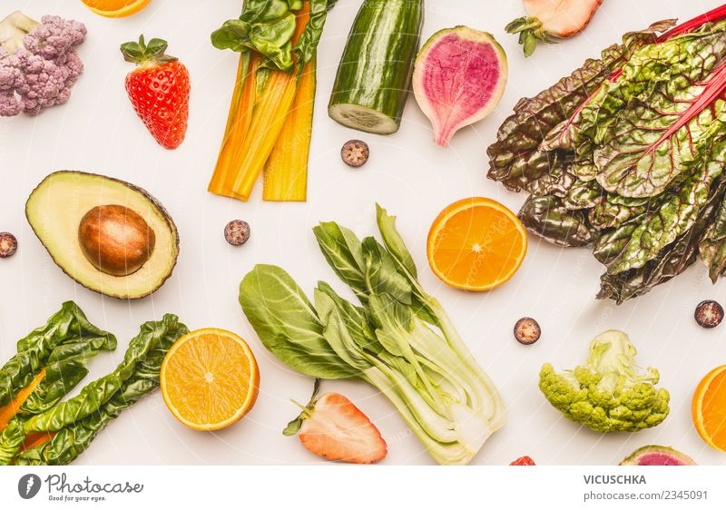 Fruit and vegetables on a white background Food Vegetable Lettuce Salad Apple Orange Nutrition Organic produce Vegetarian diet Diet Style Design Healthy