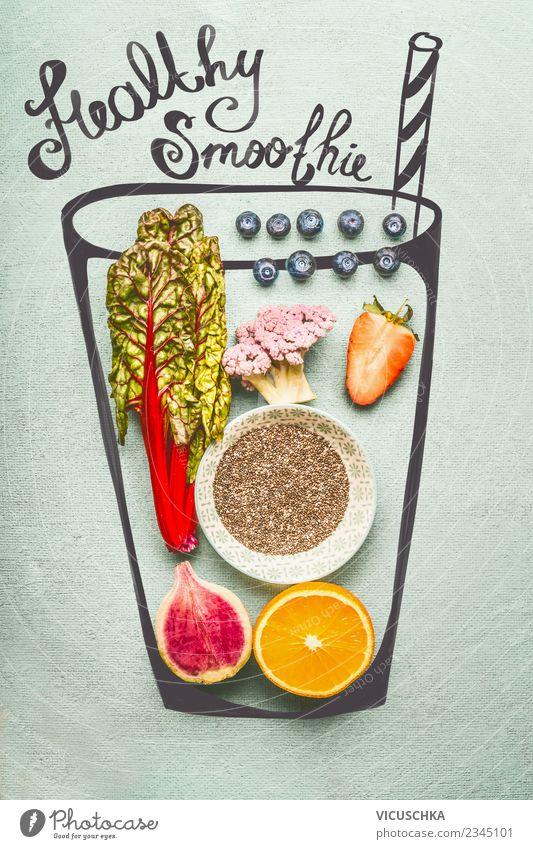 Healthy Smoothie Ingredients with Chia Seeds Vegetable Fruit Beverage Cold drink Juice Glass Style Design Healthy Eating Broccoli Vitamin Vegan diet chia Orange