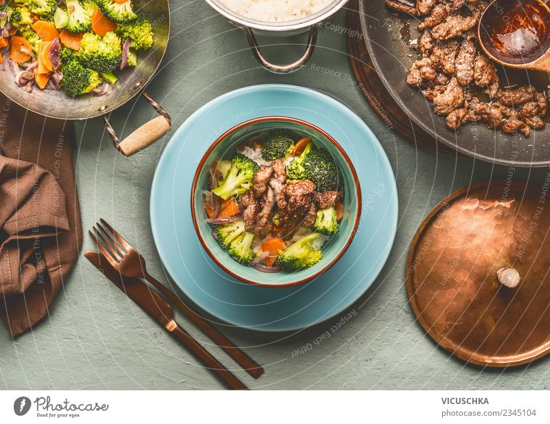 Balanced diet: beef, steamed vegetables and rice Food Meat Vegetable Grain Nutrition Lunch Dinner Diet Crockery Plate Pot Cutlery Style Design Healthy Eating