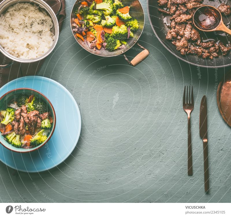 Beef, steamed vegetables and rice Food Meat Vegetable Grain Nutrition Lunch Dinner Organic produce Diet Crockery Plate Pot Cutlery Style Design Healthy Eating