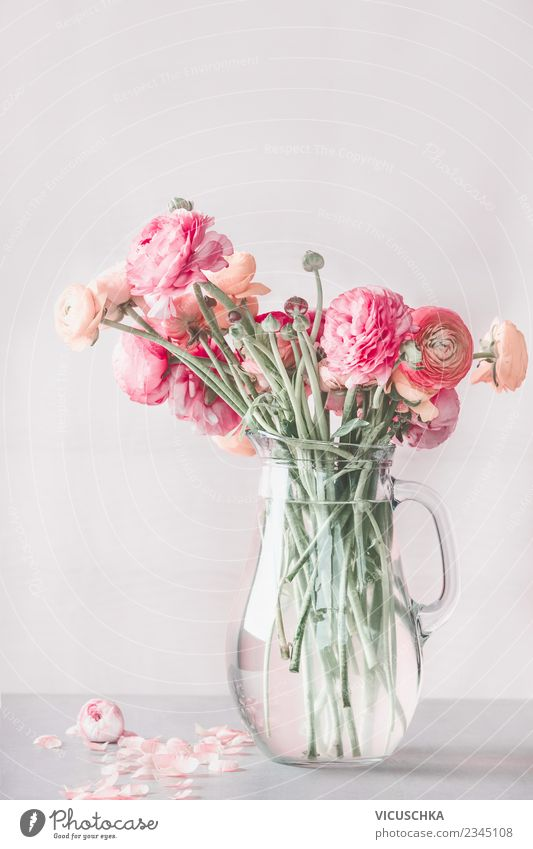 Ranunculus bundles in a glass vase Lifestyle Style Design Summer Living or residing Interior design Decoration Table Valentine's Day Nature Plant Flower Bouquet