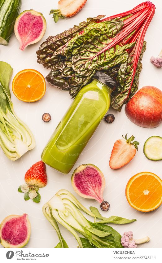 Bottle with green smoothie and ingredients Food Vegetable Fruit Nutrition Organic produce Vegetarian diet Diet Beverage Cold drink Juice Style Design Healthy