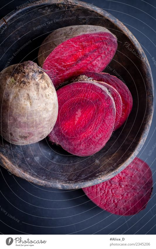 Fresh beetroot turnips in slices Rustikal still life Food Vegetable Red beet Rapes Bowl Healthy Eating Agricultural crop Wood Dark Delicious Natural Retro Juicy