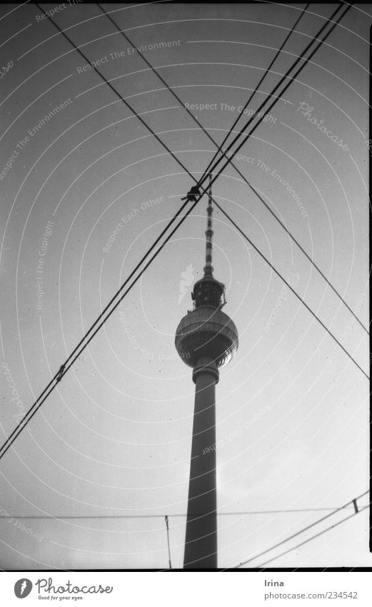Berlin Architecture Esthetic Landmark Analog Downtown Tourist Attraction Capital city Symmetry Berlin TV Tower Television tower Cross Overhead line