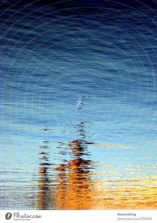 Blurred Water Sky Waves River Cold Wet Blue Brown Yellow Reflection Colour photo Exterior shot Deserted Copy Space top Day Light Shadow Contrast Exceptional