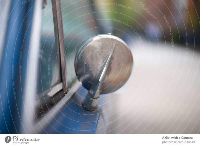 just get me there will you Means of transport Vehicle Car Vintage car Old Authentic Exceptional Uniqueness Original Retro Blue Silver Rear view mirror Nostalgia