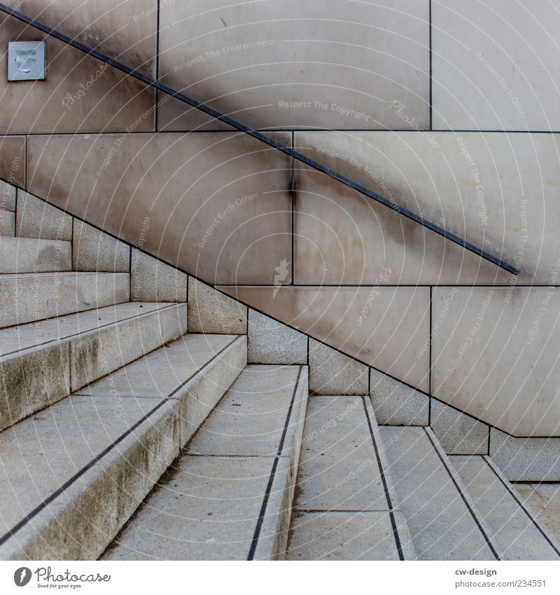 Think positive Deserted Manmade structures Building Architecture Wall (barrier) Wall (building) Stairs Facade Concrete Brown Gray Modern Banister Landing