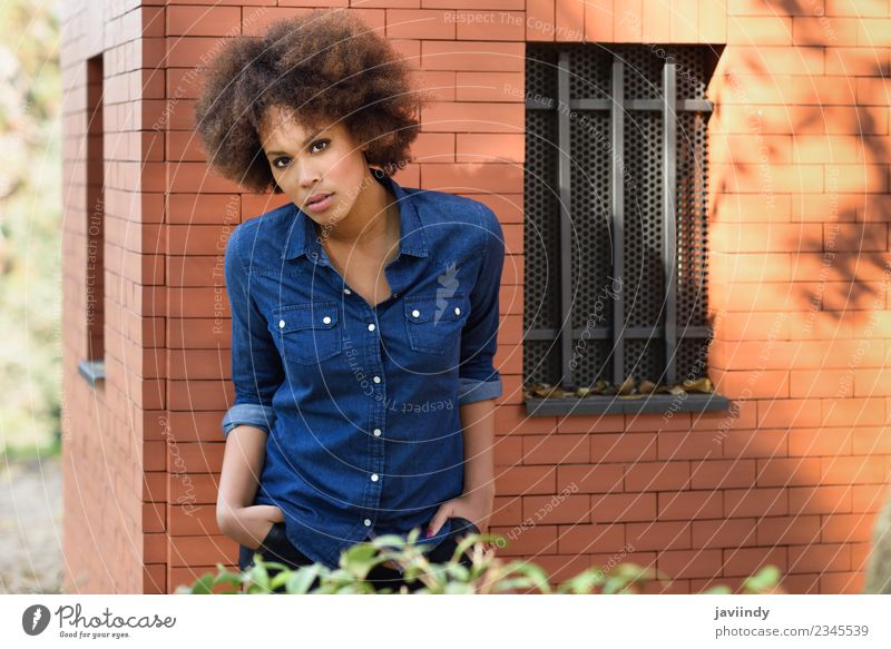 Young black woman with afro hairstyle standing outdoors Lifestyle Style Happy Beautiful Hair and hairstyles Face Human being Feminine Young woman