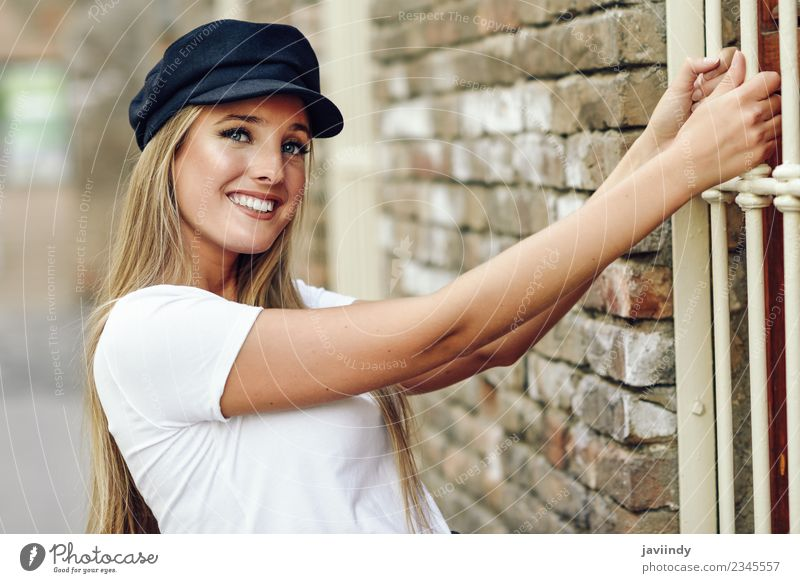 Girl with blue eyes wearing cap. Lifestyle Style Happy Beautiful Hair and hairstyles Summer Human being Feminine Young woman Youth (Young adults) Woman Adults 1