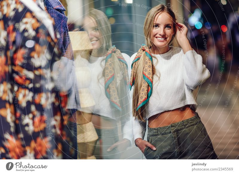 Blonde girl wearing white sweater smiling outdoors Woman Human being Youth (Young adults) Young woman Beautiful Winter 18 - 30 years Adults Street Lifestyle