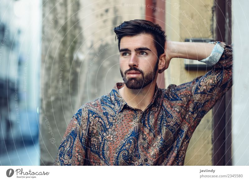 Young bearded man looking away outdoors Human being Youth (Young adults) Man Beautiful Young man White 18 - 30 years Adults Street Lifestyle Autumn Style