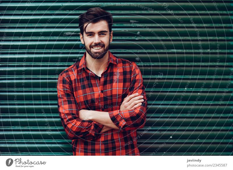 Young smiling man wearing plaid shirt with outdoors Lifestyle Style Beautiful Hair and hairstyles Human being Masculine Young man Youth (Young adults) Man