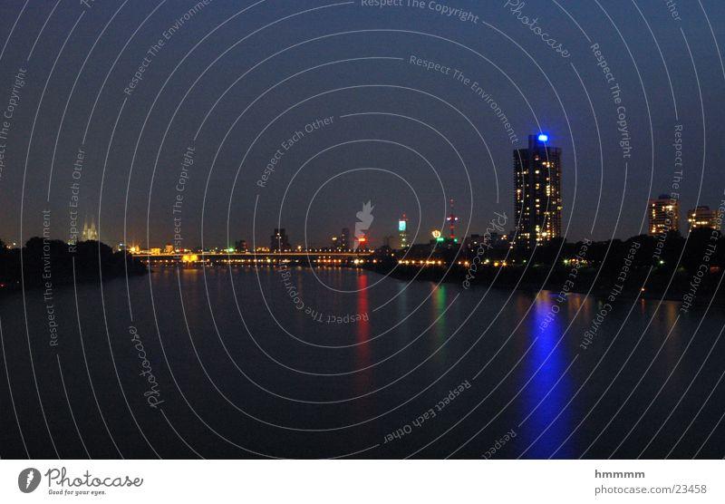Water Large Europe Bridge Cologne Night Rhine