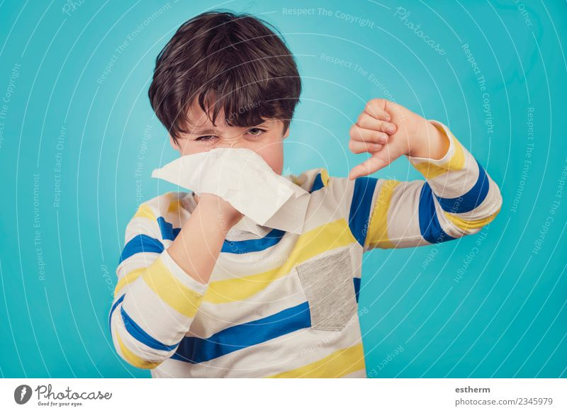 child blowing the nose has a cold Lifestyle Healthy Health care Medical treatment Allergy Human being Masculine Child Toddler Boy (child) Infancy 1 8 - 13 years