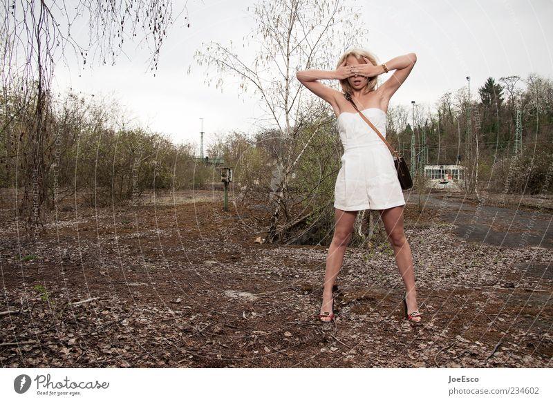 escapism Lifestyle Woman Adults Nature Fashion Blonde Stand Wait Esthetic Authentic Hip & trendy Natural Beautiful Curiosity Surprise Fear Horror