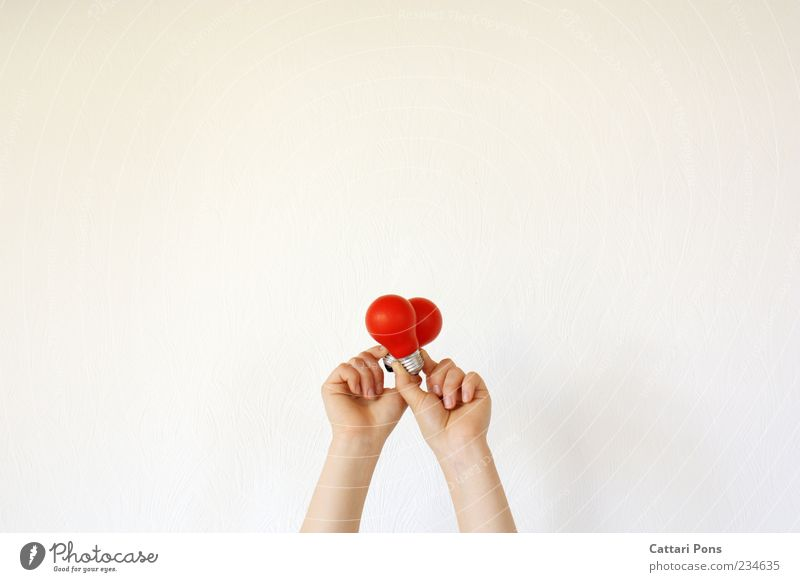 Ideas. Electric bulb Glass To hold on Red Structures and shapes Heart Hand Bright Indicate Emotions Illustrate Isolated Image Bright background