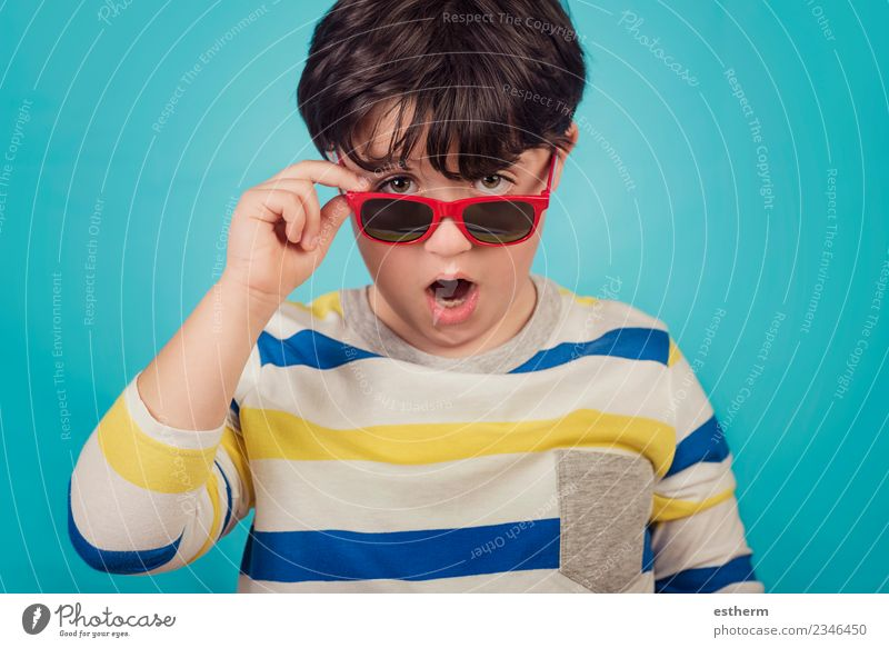 happy boy with sunglasses Child Human being Vacation & Travel Joy Movement Boy (child) Freedom Leisure and hobbies Masculine Infancy Smiling Happiness Adventure