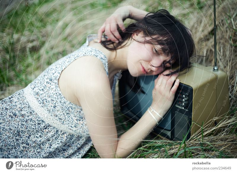 Human being Nature Youth (Young adults) Beautiful Adults Relaxation Meadow Feminine Grass Laughter Dream Exceptional Esthetic Sleep Clothing 18 - 30 years
