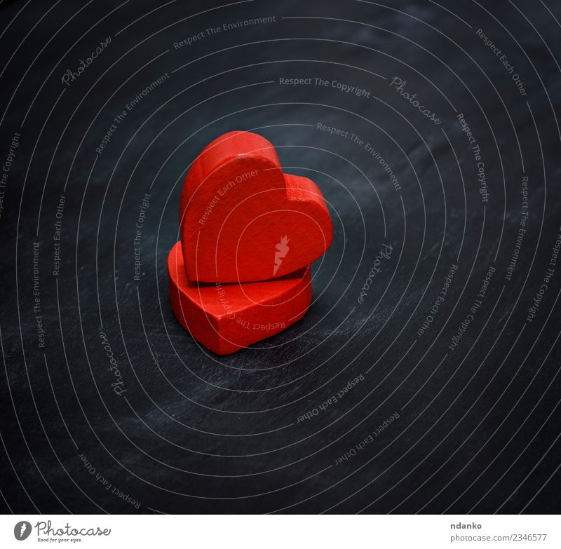 two red wooden hearts Colour Red Black Love Wood Feasts & Celebrations Together Heart Idea Romance Help Wedding Symbols and metaphors Card Conceptual design