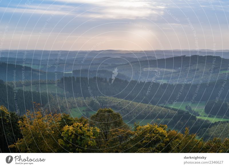 Panorama Nature Siegerland and Sauerland Ginsberger Heide. Happy Vacation & Travel Mountain Hiking Environment Landscape Air Sky Clouds Summer Autumn Tree Field