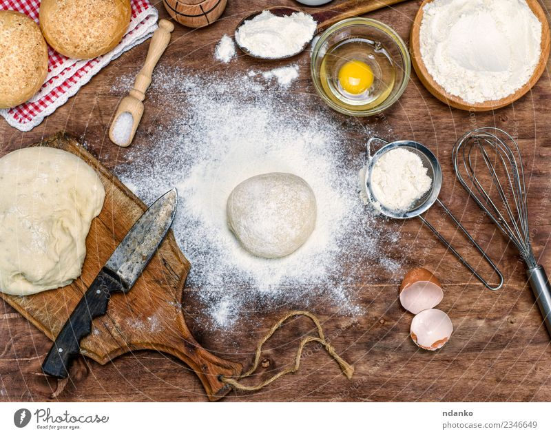 ball of white wheat flour Dough Baked goods Bread Roll Bowl Knives Table Kitchen Wood Eating Fresh Natural Brown White Yeast background Preparation food