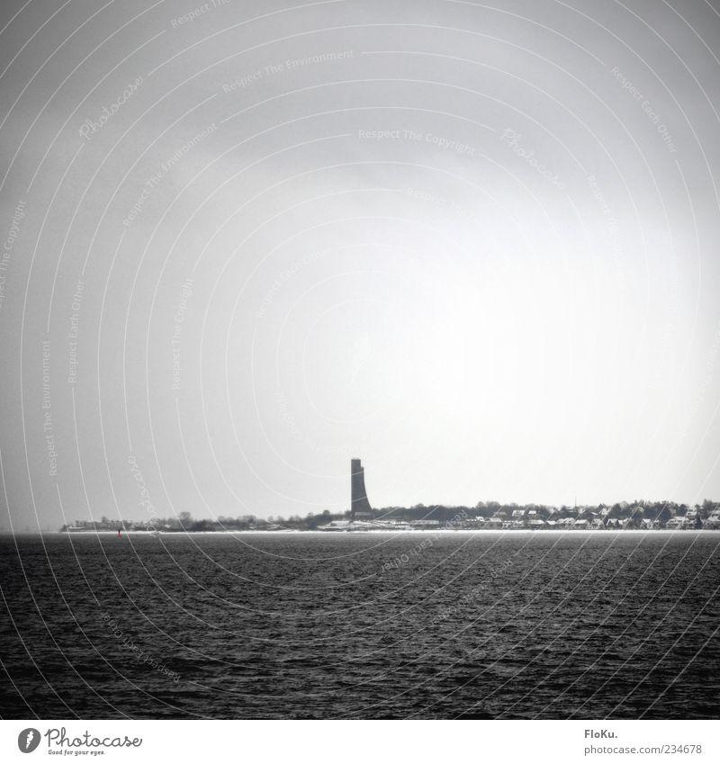 Sky Water White Clouds Winter Black Cold Dark Gray Coast Building Fog Gloomy Tower Monument Landmark