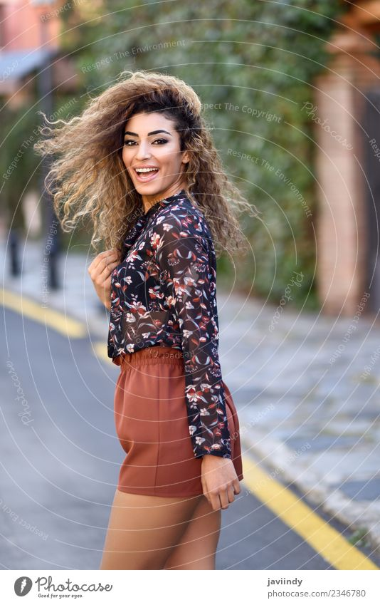 Happy young arabic woman with black curly hairstyle Lifestyle Style Joy Beautiful Hair and hairstyles Human being Feminine Young woman Youth (Young adults)