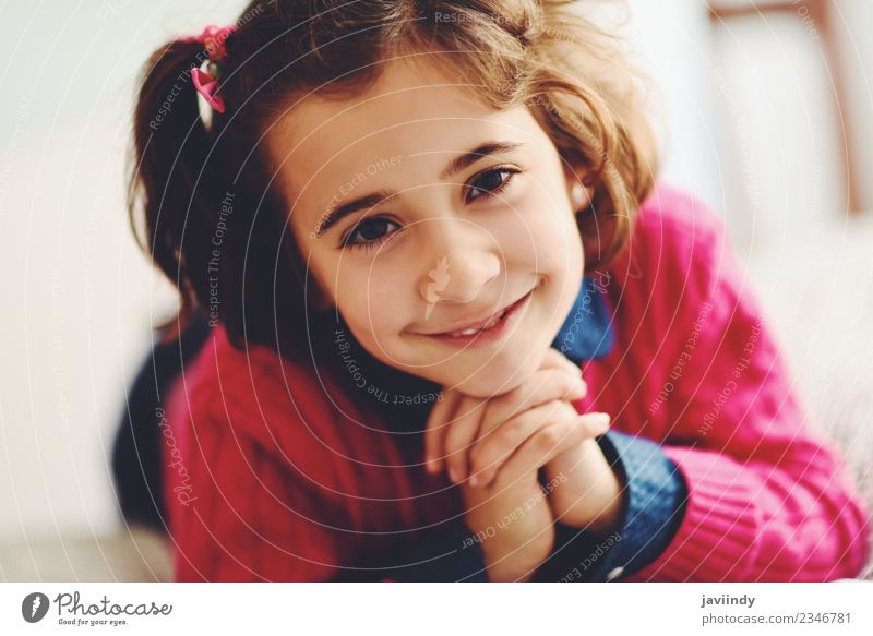 Adorable little girl with sweet smile Joy Happy Beautiful Face Child Human being Girl Woman Adults Infancy 1 3 - 8 years Smiling Small Cute White Emotions
