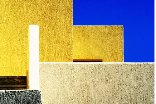 Blue White House (Residential Structure) Calm Architecture Yellow Wall (building) Art Wall (barrier) Stone Facade Design Contentment Esthetic Concrete Village
