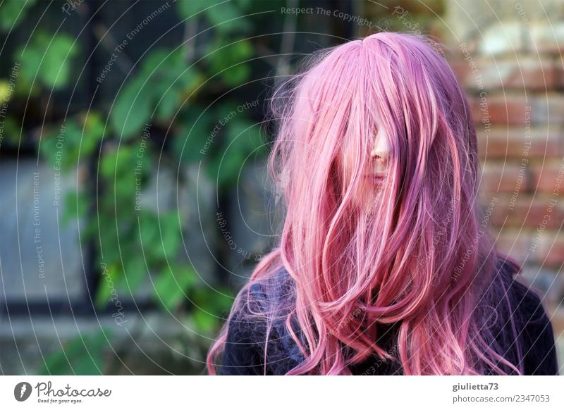 Human being Youth (Young adults) Young woman Girl Life Feminine Happy Pink Wild 13 - 18 years Crazy Uniqueness Carnival Long-haired Positive Identity