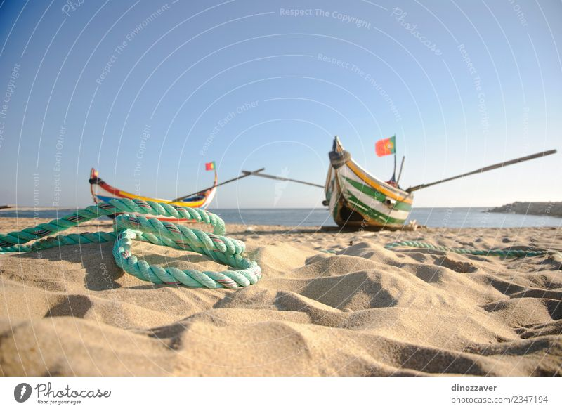 Typical old portuguese fishing Beautiful Vacation & Travel Tourism Summer Beach Ocean Rope Nature Sand Sky Coast Transport Watercraft Wood Flag Old Bright Small