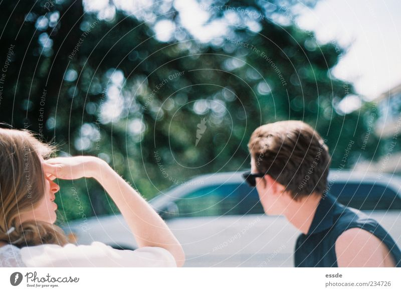 Youth (Young adults) Blue White Beautiful Summer Far-off places Relaxation Feminine To talk Head Car Dream Friendship Together Contentment Arm