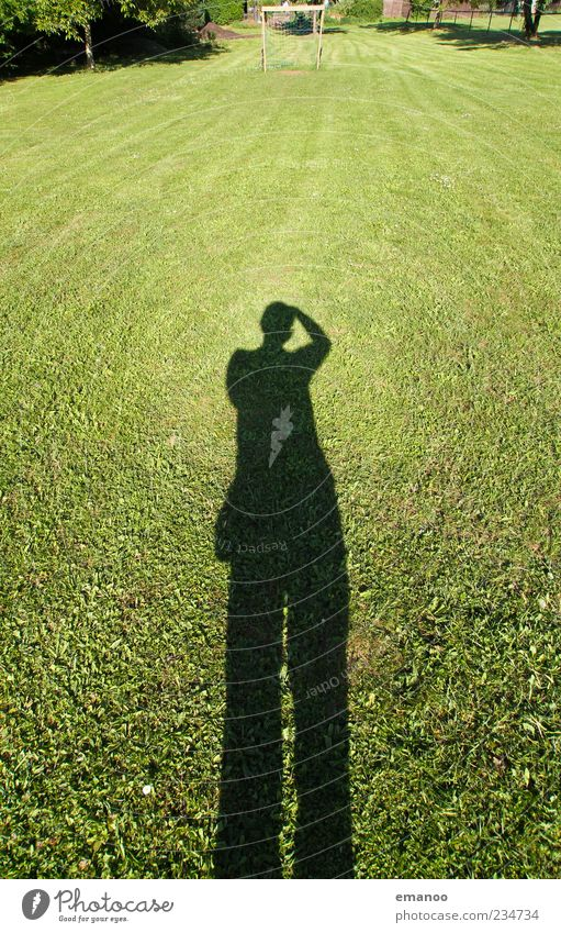 football shadow Summer Football pitch Human being Man Adults 1 Nature Landscape Grass Meadow Stand Large Green Take a photo Photographer Lawn Posture