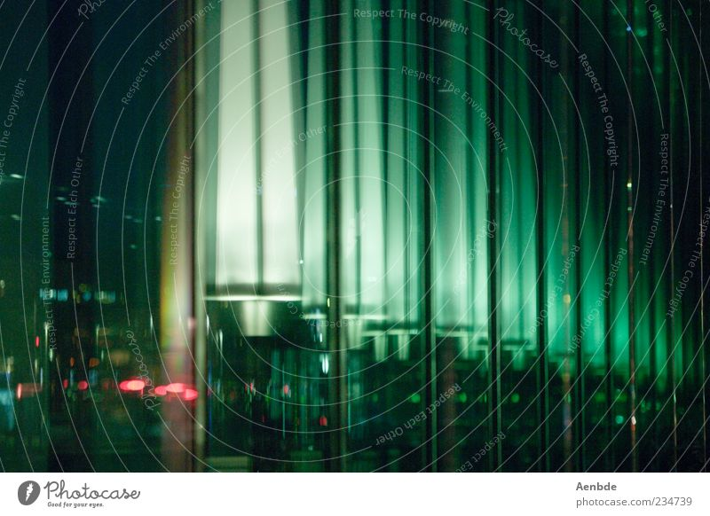 reflections Lucerne Deserted Esthetic Reflection Night Light Lamp Glass Green Rhythm Colour photo Exterior shot View from a window City light Copy Space right