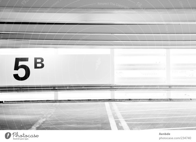 5B Parking garage Esthetic Sharp-edged Typography Minimalistic Graphic Crash barrier Back-light Lane markings Asphalt Parking level Black & white photo