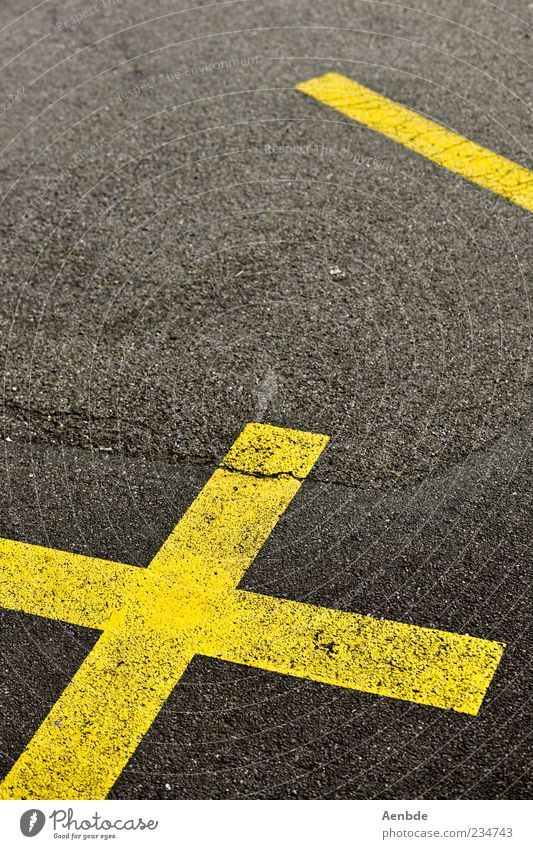cross&line Street Yellow Gray Crucifix Line Lane markings Asphalt Crack & Rip & Tear Graphic Minimalistic Colour photo Exterior shot Deserted Day Tar