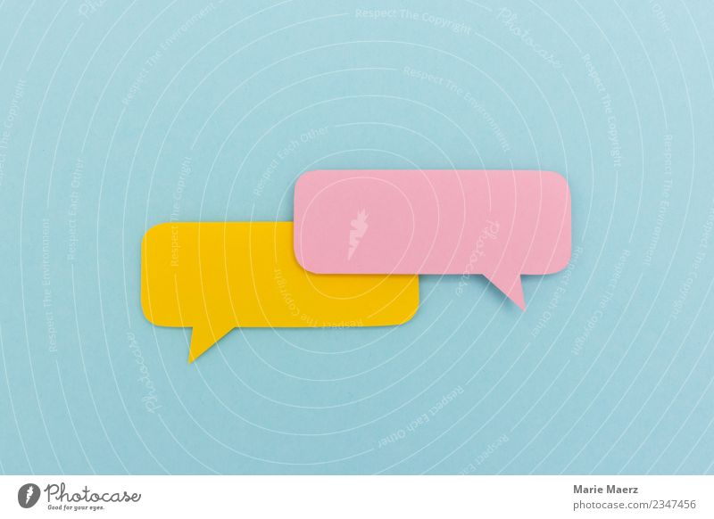 Empty dialog | Two paper speech bubbles without content Speech bubble Communicate To talk Esthetic Friendliness Fresh Hip & trendy Multicoloured Curiosity