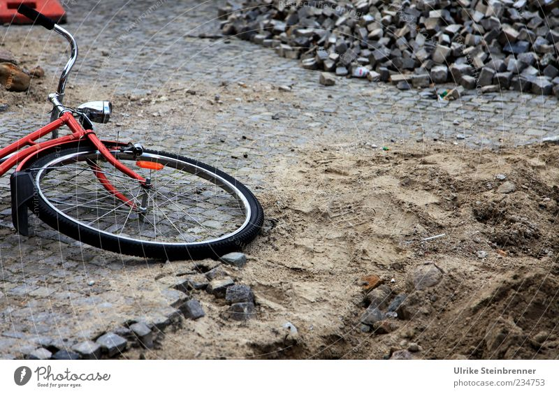 Street Sand Stone Bicycle Dirty Lie Construction site To fall Traffic infrastructure Sudden fall Hollow Pavement Cobblestones Wheel Paving stone Playground